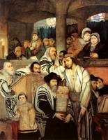 Jews Praying in the Synagogue on Yom Kippur, by Ma