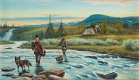 JOHAN TIRÉN, SAMI BOYS CROSSING THE RIVER.