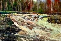 Powerful rapids on a river in Karelia