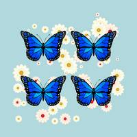 Four blue butterflies