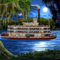 Mystic Moonlight Cruise Art Prints & Posters by Glenn Holbrook