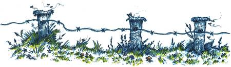 Fence posts colored inked rescanned