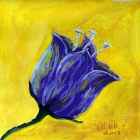 purple tulip on yellow acrylic painting