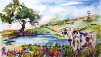Texas Longhorn Landscape Bluebonnets Indian Paintb