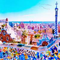 Park Guell Watercolor painting