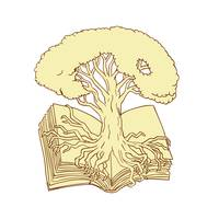 Oak Tree Rooted on Book Drawing