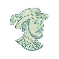Juan Ponce de Leon Explorer Drawing