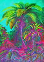 Neon Colored Trees and Ferns
