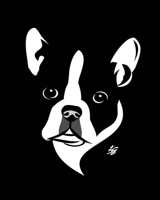 stylized Boston Terrier art