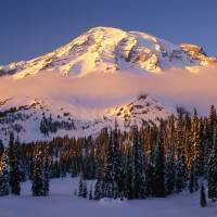 Winter sunset cloud at Mount Rainier (w caption) Art Prints & Posters by JOHN CHAO