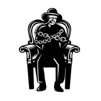 Man Gagged Chained to Grand Arm Chair Woodcut
