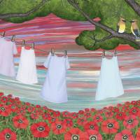 cedar waxwings, poppies, and laundry Art Prints & Posters by Sarah Knight