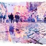 Dublin Watercolor Streetscape