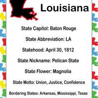 Louisiana Information Educational Art Prints & Posters by Valerie Waters