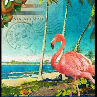 florida flamingo beach poster Art Prints & Posters by r christopher vest
