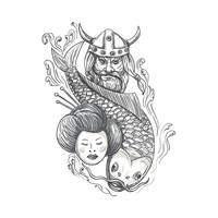 Viking Carp Geisha Head Tattoo