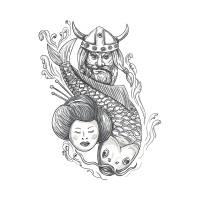 Viking Carp Geisha Head Tattoo Art Prints & Posters by aloysius patrimonio