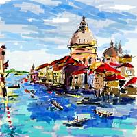 Venice Grand Canal Modern Digital Painting