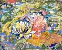 Lily and koi pond abstract