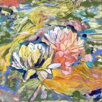 Lily and koi pond abstract Art Prints & Posters by RD Riccoboni