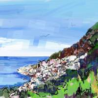 Ravello Villa Cimbrone Ravello Digital Painting Art Prints & Posters by Ginette Callaway