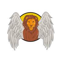 Winged Lion Head Circle Drawing
