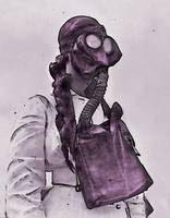 WWI Nurse in Gas Mask