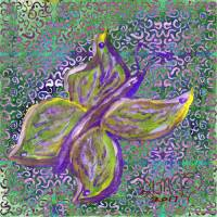 purple and green butterfly with swirly background Art Prints & Posters by Dawna Morton