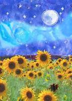 Sunflowers, stars, and full moon