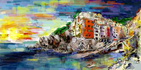Digital Paintings Riomaggiore Cinque Terre