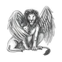 Winged Lion Protecting Cub Tattoo