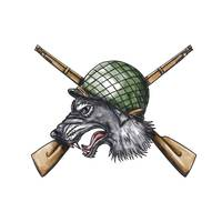 Grey Wolf WW2 Helmet Crossed Rifles Tattoo