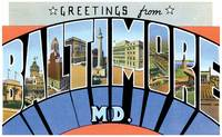 Baltimore MD Large Letter Postcard Greetings