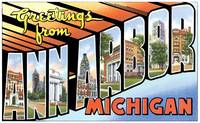 Ann Arbor MI Large Letter Postcard Greetings
