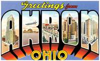 Akron OH Large Letter Postcard Greetings