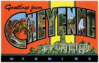 Cheyenne WY Large Letter Postcard Greetings