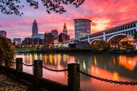 Cleveland Skyline Sunrise from the Flats by Cody Y
