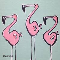 three flamingos.