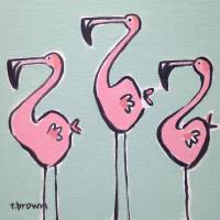 three flamingos. Art Prints & Posters by tracie brown