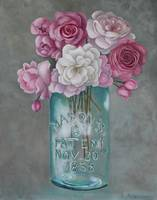 Antique Mason Jar Number 6 1858 with Pink Roses