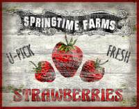 U-Pick Folkart Strawberries Sign