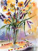 Daffodils and Lavender Spring Still Life