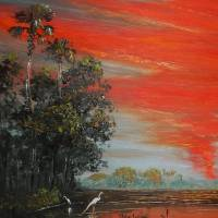 June Fire Sky Tropics Art Prints & Posters by Mazz Original Paintings