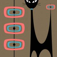Atomic Cat with Pink and Turquoise Orbs Art Prints & Posters by Donna Mibus