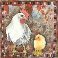 chicken art | animal art | birds | mixed media Art Prints & Posters by Miriam Schulman
