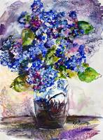 Blue Hydrangeas Art Glass Vase Still Life