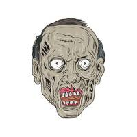 Zombie Head Front Drawing