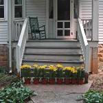 """flower pots at foot of porch stairs"" by bittersweetcottage"