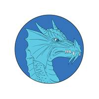 Blue Dragon Head Angry Circle Drawing