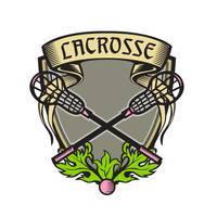 Crossed Lacrosse Stick Coat of Arms Crest Woodcut